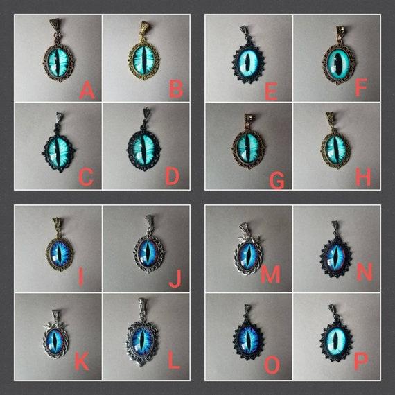 Dragon eye pendant, dragon eye necklace, silver-toned frames, cat eye jewelry, demon eye pendant, glass eye cabochons, aqua or blue eyes