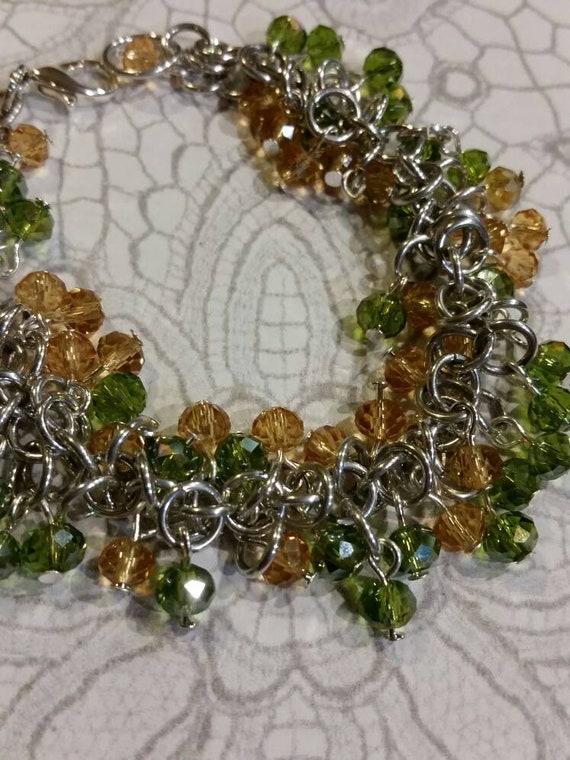 Chain maille bracelet, Shaggy loops bracelet, shaggy loops chain maille bracelet, beaded chain maille, beaded bracelet, Czech glass beads