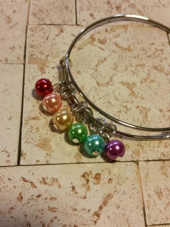 Gay pride bracelet, LGBT pride bangle, expandable bangle, charm bangle, LGBT jewelry, rainbow bracelet, equality bangle, lgbt pride jewelry