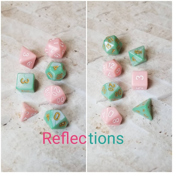 Reflections dnd dice, pink and green curated dice set, polyhedral dice, DnD dice set, RPG, gaming dice, set of 7 dice, hand picked set, 16mm