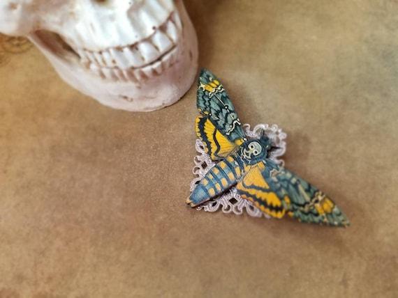 Deaths Head moth brooch, Death's head moth pin, rose gold accents, wood lasercut moth, Hawk moth, Death head moth jewelry, unique brooch