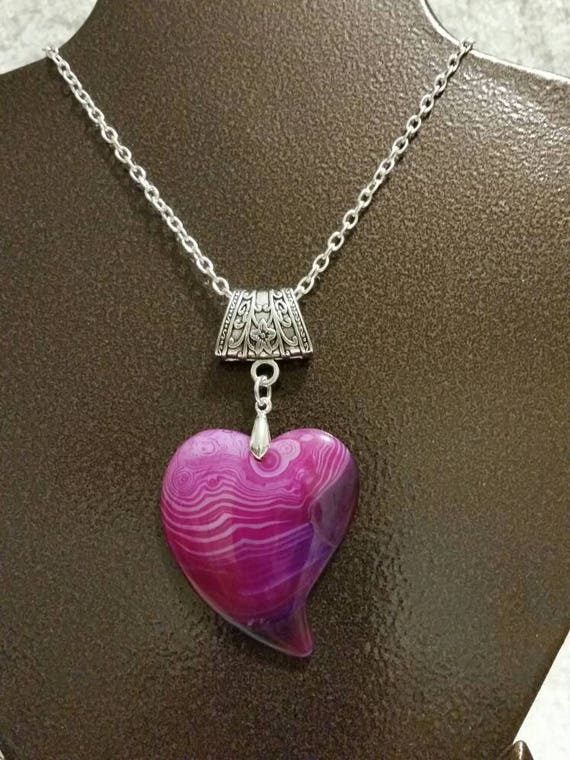 Pink and purple Banded Agate pendant, polished Agate heart, gemstone heart necklace, silver metal bail, Banded Agate heart pendant