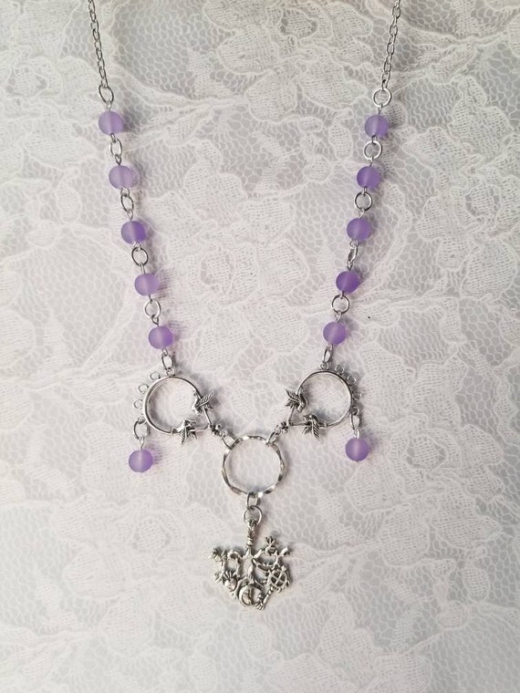 Cimaruta necklace, Cimaruta jewelry, Italian witches amulet, stainless steel pins, pastel purple sea glass, silver toned bird connectors