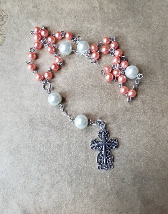 Prayer beads, religious, Anglican, Episcopal, Methodist, Protestant prayer beads, dark peach and white glass pearls, filigree cross