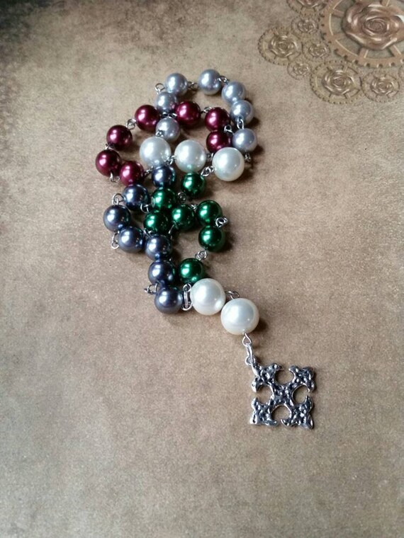 Anglican prayer beads, Methodist rosary, Protestant prayer beads, Episcopal rosary, stainless steel, Christmas colors, glass pearls