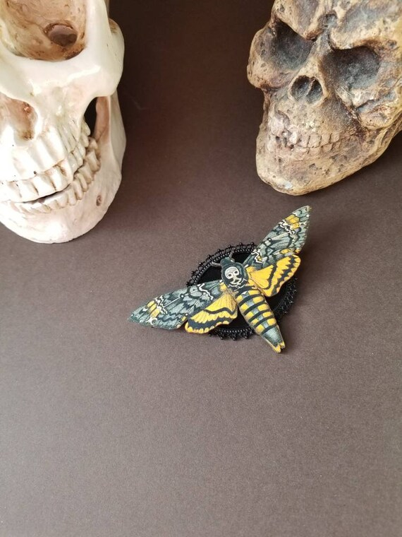 Deaths Head moth brooch, Death's head moth pin, black accents, wood lasercut moth, Hawk moth, Death head moth jewelry, unique brooch