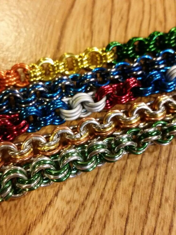 Chain maille bracelet, 3 in 3 weave, chainmaille jewelry, patriotic, thin blue line, lgbt pride, chain mail jewellery, chainmaille links
