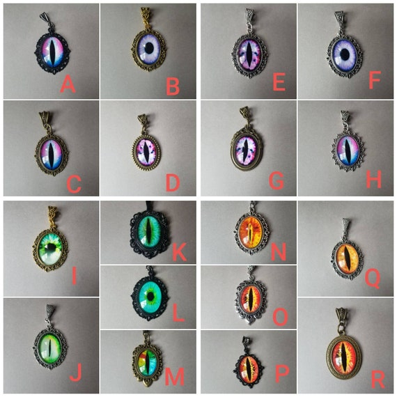 Dragon eye pendant, dragon eye necklace, silver-toned frames, cat eye jewelry, demon eye pendant, glass cabochons, purple or green or orange