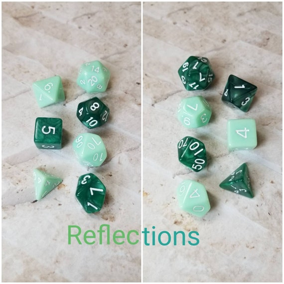 Reflections dnd dice, green curated dice set, polyhedral dice, DnD dice set, RPG dice, gaming dice, set of 7 dice, hand picked sets, 16mm