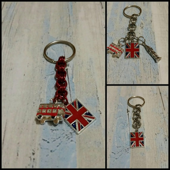 Keychain, British themed silver chain maille keychains with enameled charms, British flag, Double-decker bus, Big Ben, key ring,  key fob
