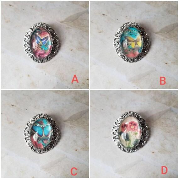 Butterfly brooch, butterfly pin, flower brooch, flower pin, butterfly jewelry, silver toned bezel, photo behind glass, butterfly pendant