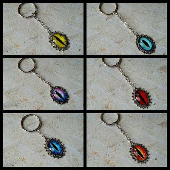 Dragon eye keychains, keychain, key fob, key ring, stainless steel ring, glass eye cabochon, bright colors, eye keychains, Goth keychains