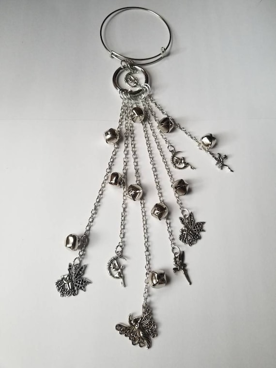 Witch bells, silver witch bells, faerie bells, protection bells, witches protection bells, bells for doors, faerie witches bells,