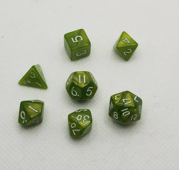 Pearly green and white mini Dnd dice, mini polyhedral gaming dice, DnD dice set, RPG dice, D and D dice, set of 7 DnD dice, 10mm dice