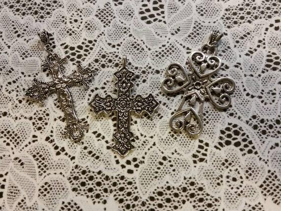 Silver metal cross, ornate cross, large cross pendant, fancy Christian cross, religious jewelry, religious necklace, cross pendant, large