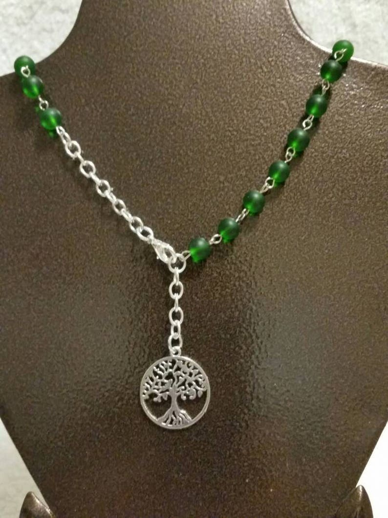 Witch ladder, Pagan prayer beads, pagan rosary, Wiccan prayer beads, green  sea glass, tree of life, Earth element witches ladder, wearable