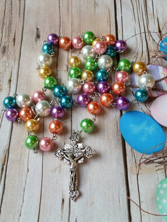 Easter Lutheran prayer beads, Lutheran rosary, stainless steel, hand-wired, glass pearl, budded crucifix, Easter egg colors, Spring colors