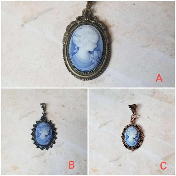 Cameo pendant, cameo necklace, dark blue cameo pendant, Victorian girl cameo necklace, blue cameo jewelry, Victorian girl with pearls,