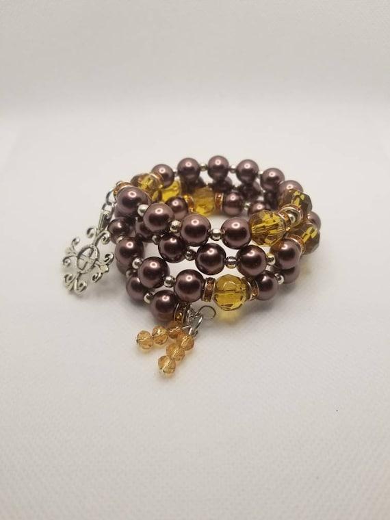 Lutheran rosary bracelet, Lutheran prayer bracelet, memory wire bracelet, wrap bracelet, brown and amber, silver, Jerusalem cross, Lutheran