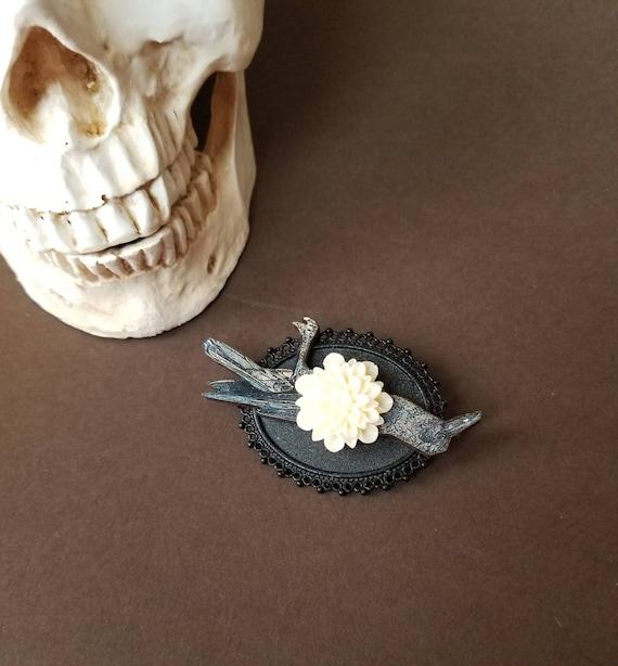 Raven brooch, dead raven brooch, raven pin, cream Dahlia, woodcut raven, Goth jewelry, unusual pin, unique brooch, black raven jewelry, OOAK