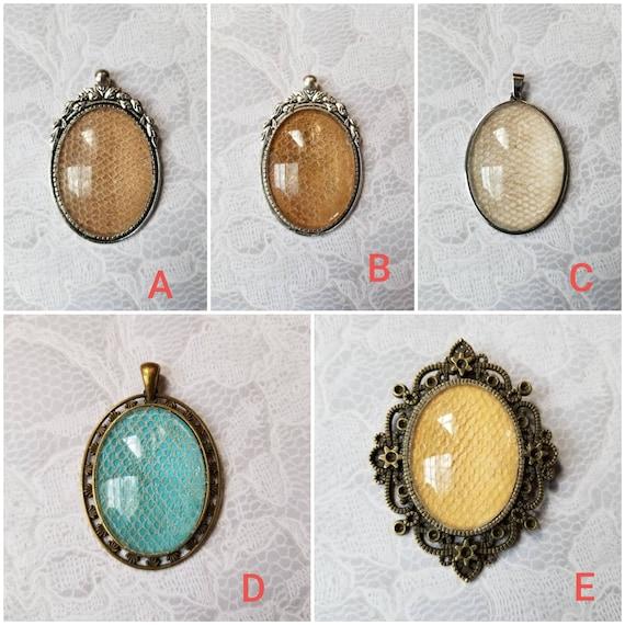Snake shed jewelry, snake shed pendant, snakeskin necklace, cruelty free snake sheds, Boa Constrictor shed skin pendant, Hypo Hog Island boa