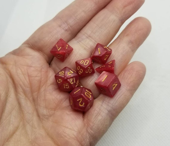 Pearly red and gold mini Dnd dice, mini polyhedral gaming dice, DnD dice set, RPG dice, D and D dice, set of 7 DnD dice, 10mm dice