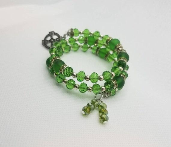 Lutheran rosary bracelet, Lutheran prayer bracelet, memory wire bracelet, wrap bracelet, green crystal, frosted glass, green rhinestones