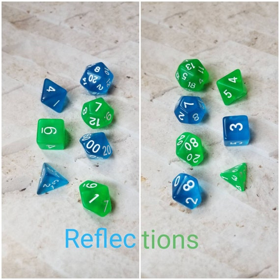 Reflections dnd dice, blue and green curated dice set, polyhedral dice, DnD dice set, gaming dice, set of 7 dice, hand picked sets, 16mm