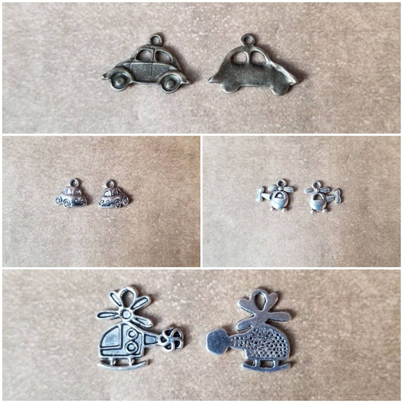 Destash charms, silver or bronze toned, helicopter or car charms, choice of four, destash helicopter charms, destash car charms,