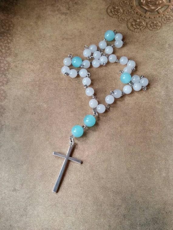 Anglican prayer beads, Methodist rosary, Protestant prayer beads, Episcopal rosary, stainless steel, Winter prayer beads, Malay jade, frozen