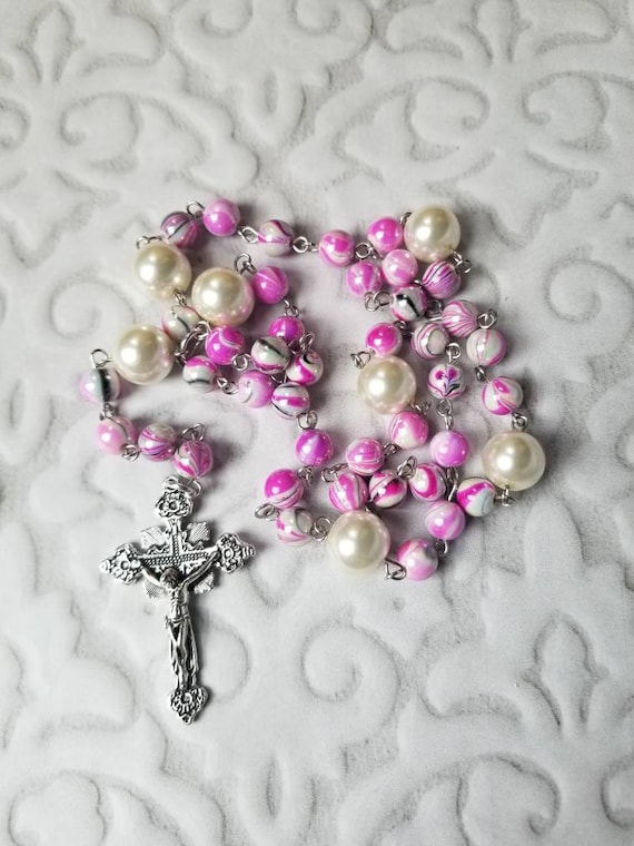 Lutheran prayer beads, Lutheran rosary, stainless steel, pink swirly glass beads, ivory glass pearls, detailed crucifix, hand-wired, OOAK
