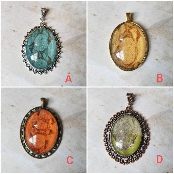Snake shed jewelry, snake shed pendant, snakeskin necklace, cruelty free snake sheds, Boa Constrictor shed jewelry, Boa shed skin pendant
