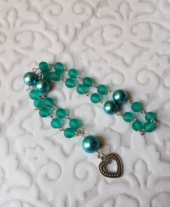 UU Prayer beads, Unitarian universalist prayer beads, stainless steel, hand wired, teal sea glass and glass pearls, heart charm, OOAK