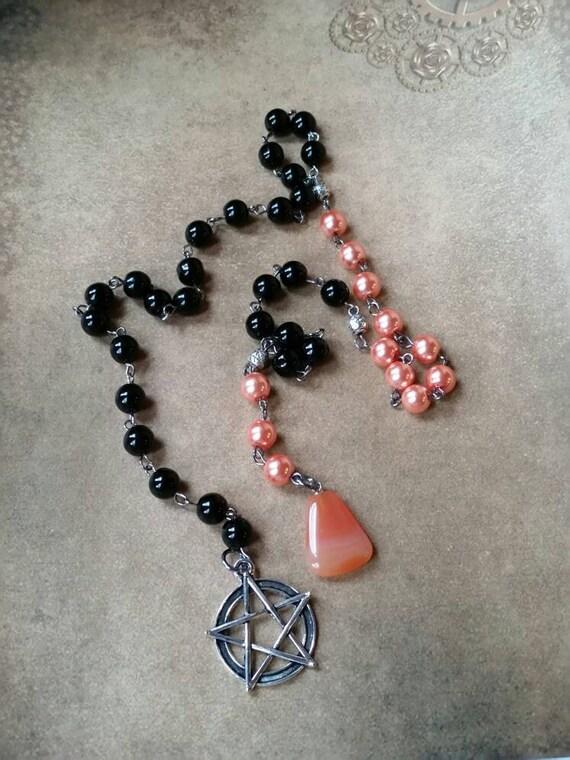 Samhain witches ladder, pagan prayer beads, Wiccan beads, witches ladder, gunmetal, orange and black, black pentagram, Carnelian drop