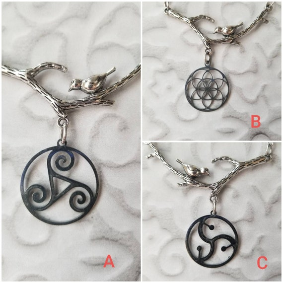 Nature themed jewelry, branch with bird and charms, stainless steel charms, Triskelion charm, BDSM charm, flower or life charm, seed of life
