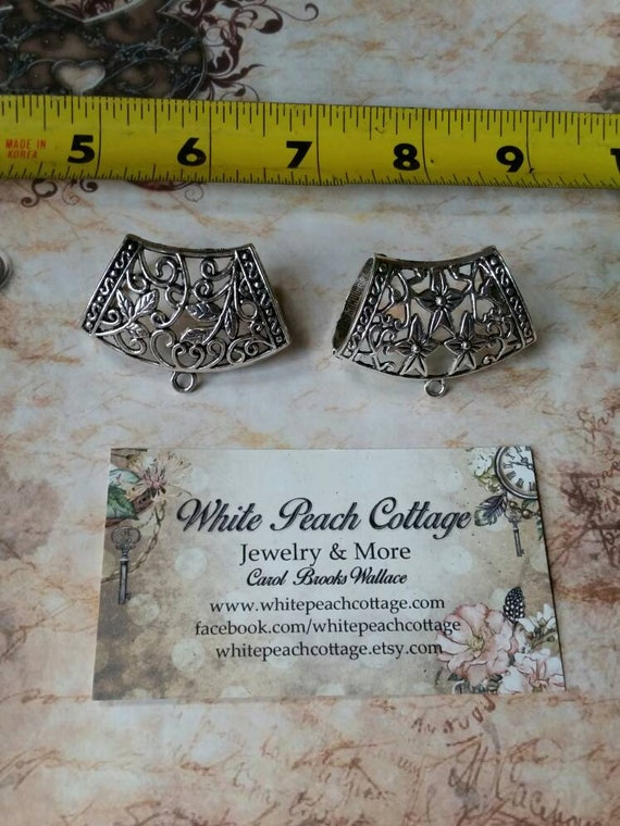 DESTASH scarf bails, destash scarf jewelry, silver-toned metal, floral  scarf bails, decorative bail, open back, flower bail, two styles