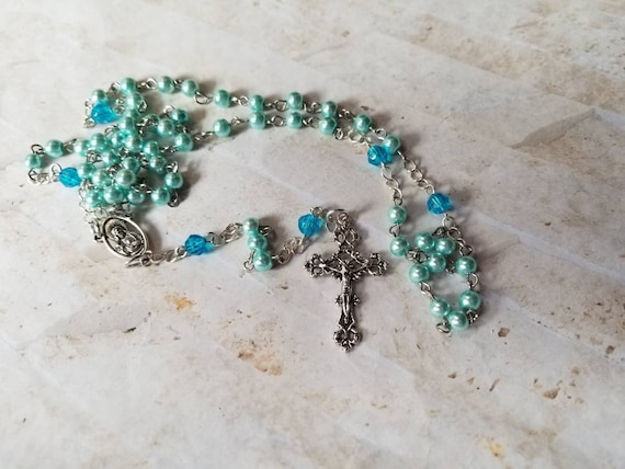 Handmade rosary, five decade rosary, blue glass pearls, Sacred Heart of Jesus center,  crucifix, Catholic, religious, hand-wired, silver