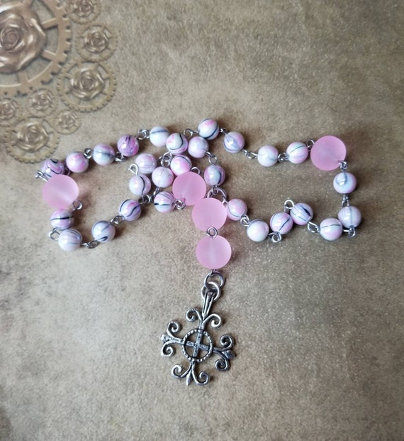 Anglican prayer beads, Methodist prayer beads, Episcopal rosary, Protestant prayer beads, pink glass beads, frosted beads, stainless