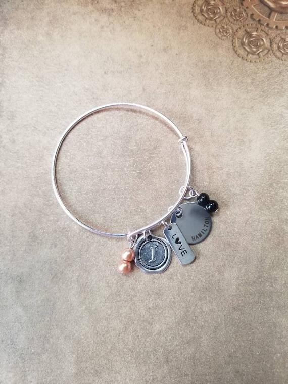 Hamilton charm bracelet, Hamilton bangle, silver toned bangle, expandable bangle bracelet, Hamilton charm bangle, I love Hamilton bracelet