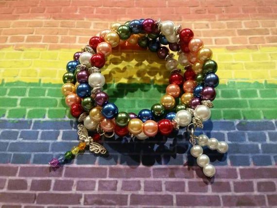 Gay pride bracelet, LGBT pride bracelet, memory wire bracelet, wrap bracelet, beaded bracelet, glass pearl bracelet, Boho, dragonfly