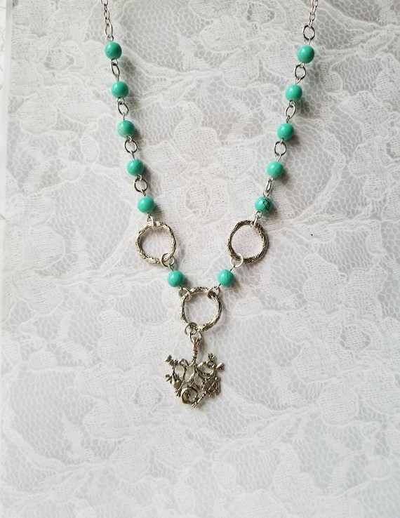 Cimaruta necklace, Cimaruta jewelry, Italian witches amulet, stainless steel pins, turquoise glass, silver textured O rings