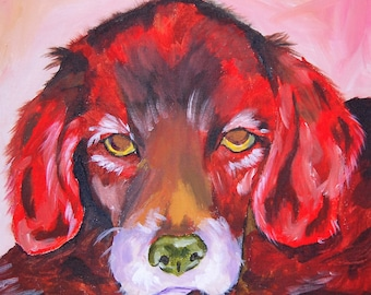 Custom Painted Pet Portrait in Acrylic (high contrast), 12x12 canvas