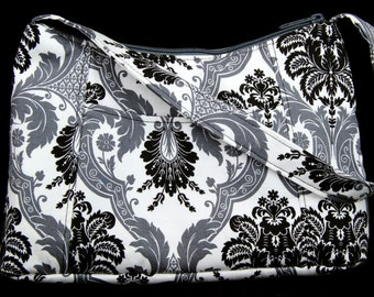 Grey and black damask Fabric Purse, Fabric Handbag, Casual Purse, Shoulder bag