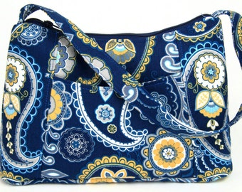 blue and yellow paisley Fabric Purse, Fabric Handbag, Casual Purse, Shoulder bag