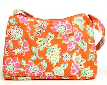 Orange and pink floral Fabric Purse, Fabric Handbag, Casual Purse, Shoulder bag