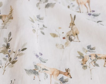 Forest Animals, light beige, printed linen fabric with botanical pattern designs, for kids clothing