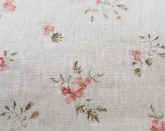 Rose Dream, cream, printed linen fabric with floral pattern designs, watercolor flowers in vintage style
