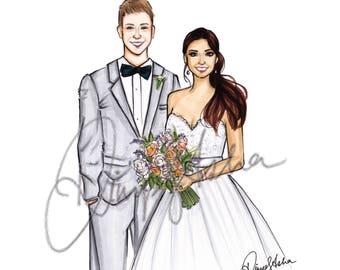 Wedding Portrait, Couple Portrait, Custom portrait, Wedding invitation, Wedding gift, Custom Wedding Portrait, Custom Couple Portrait