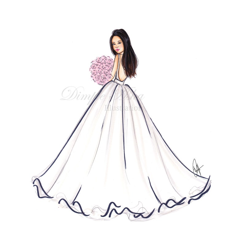 Custom Bride portrait Wedding gift Bridesmaid gift Wedding card Custom illustration Custom portrait Bride gift Wedding invitation