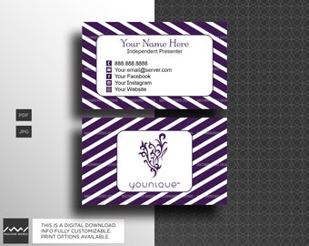 Younique business cards etsy younique business cards independent presenter compliant approved marketing material purple stripes design digital download machinewerks colourmoves